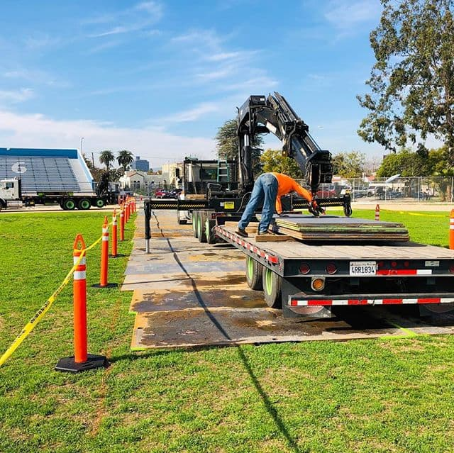 You want a temporary fire access road? We got you covered.. with construction taking place on the grounds of Los Angeles high school, steel plates serving as an access road so the @losangelesfiredepartment can have access if an emergency should arise. Let's hope the road is never used.