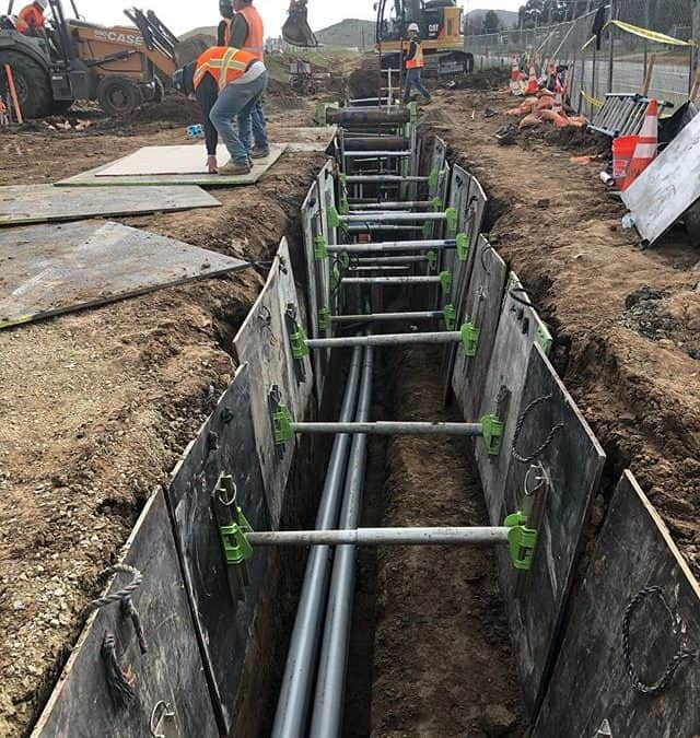 Duct Bank shoring using Finn Mounted Shores & Trench Boxes